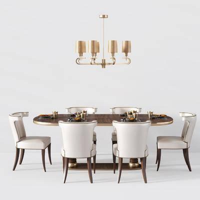 欧式实木餐桌椅, 餐桌, 单椅, 吊灯, 欧式