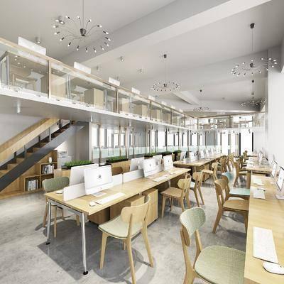 敞开式办公区, 办公桌椅组合, 现代