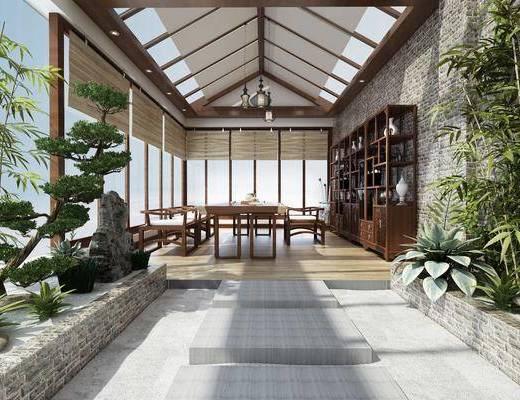 花园阳台, 阳台露台, 盆栽, 餐桌, 单人椅, 装饰架, 装饰柜, 装饰品, 陈设品, 绿植, 吊灯, 新中式
