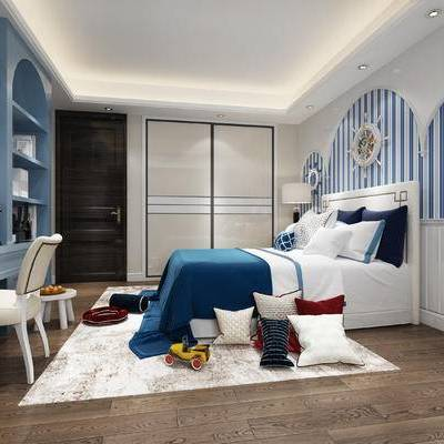 地中海卧室儿童房, 地中海, 地中海卧室, 卧室, 儿童房, 床, 抱枕, 玩具