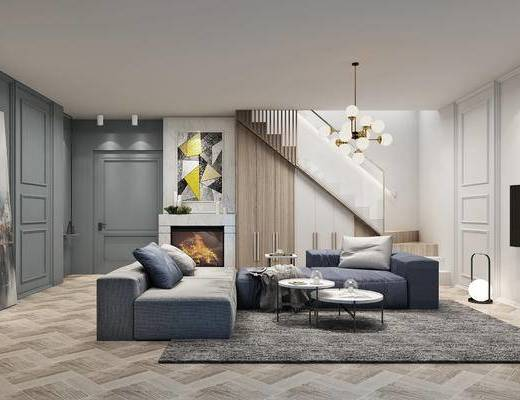 现代, 简欧, 沙发组合, 茶几, 楼梯, 灯具