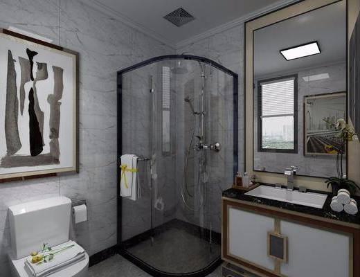 卫生间, 马桶, 装饰画, 挂画, 洗手台, 装饰镜, 花洒, 壁灯, 新中式