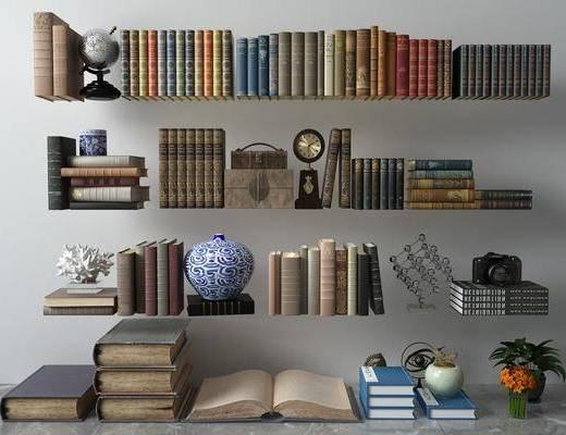 书籍杂志, 摆件组合, 现代