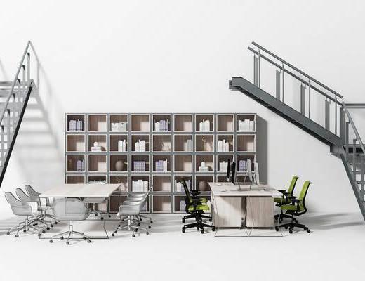 办公桌椅, 桌椅组合, 楼梯书架, 书柜书籍, 工业风