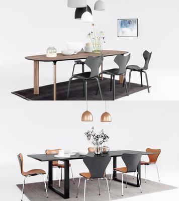 现代餐桌, 餐桌, 桌椅组合
