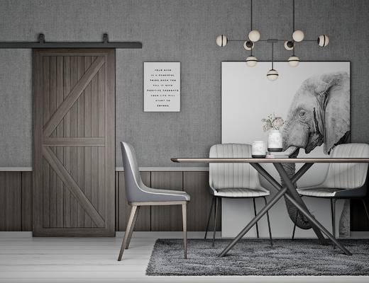 北欧, 餐厅, 餐桌椅, 灯具
