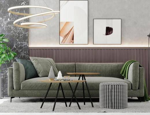 沙发组合, 装饰画, 吊灯, 茶几, 摆件组合