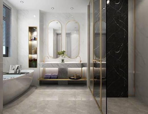 后现代卫生间, 卫生间, 洗手台, 浴池, 后现代