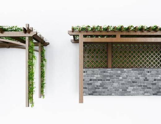 植物墙, 藤蔓, 爬山虎组合, 藤蔓架, 现代