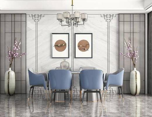 餐桌椅, 吊灯, 挂画, 绿植, 摆件