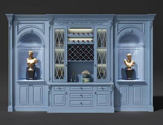 酒柜, 装饰柜, 欧式