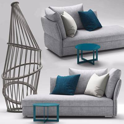 双人沙发, 布艺沙发, 现代双人沙发