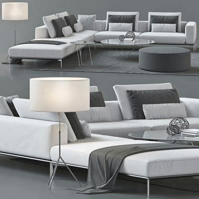 多人沙发, 茶几, 落地灯, 现代