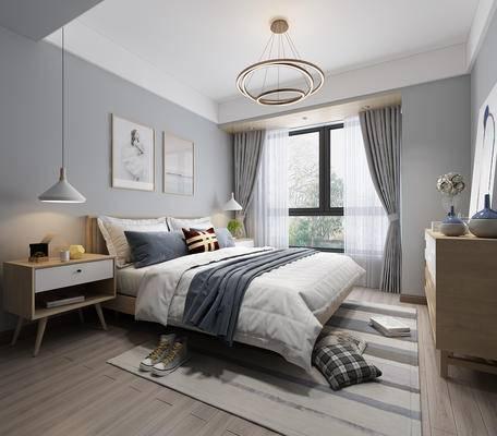 北欧卧室, 现代卧室, 卧室, 床, 床头柜, 吊灯, 装饰柜