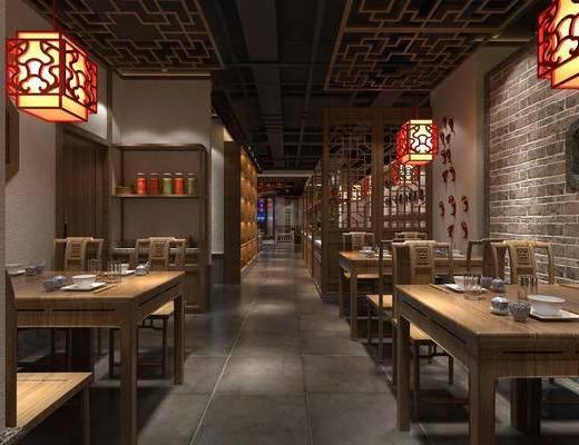 餐桌, 卡座, 吊灯, 桌椅组合, 墙饰, 柜架组合
