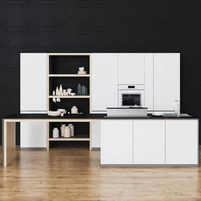 橱柜, 厨房, 厨具, 瓶子, 杯子, 陶瓷, 水龙头, 洗手台, 现代