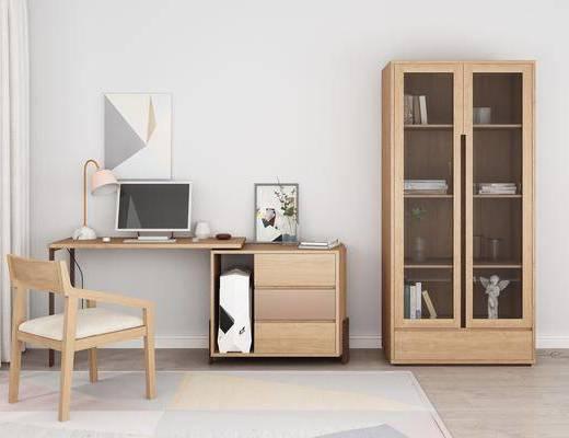 实木书桌, 书柜, 单人椅, 电脑桌, 台灯, 装饰品, 陈设品, 摆件, 装饰画, 书籍, 装饰柜, 现代