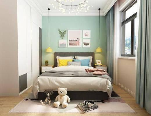 儿童房, 双人床, 床头柜, 吊灯, 玩具, 玩偶, 装饰画, 挂画, 组合画, 北欧