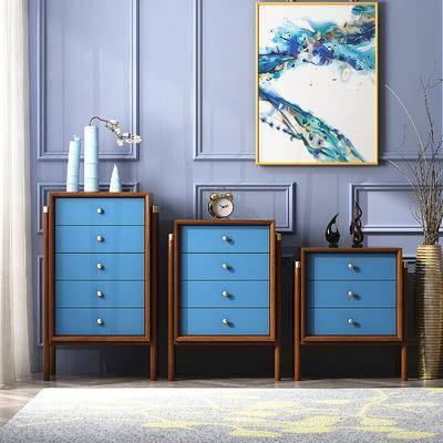 斗柜, 边柜模型, 装饰画, 挂画, 花瓶, 干树枝, 摆件, 装饰品, 陈设品, 现代