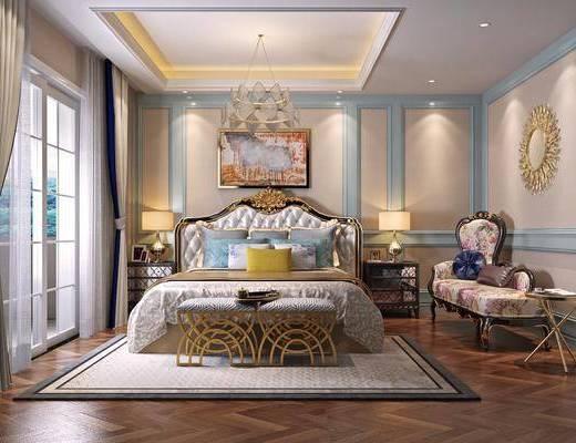 卧室, 双人床, 床尾凳, 台灯, 吊灯, 躺椅, 边几, 墙饰, 装饰画, 挂画, 欧式