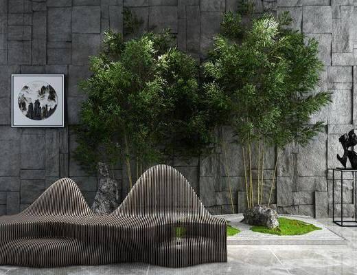 园艺小品, 柱子, 树木, 装饰画, 装饰架, 新中式