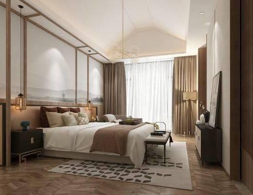 双人床, 背景墙, 地毯, 床尾踏, 边柜, 吊灯, 窗帘
