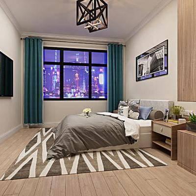 卧室, 床, 现代, 床头柜
