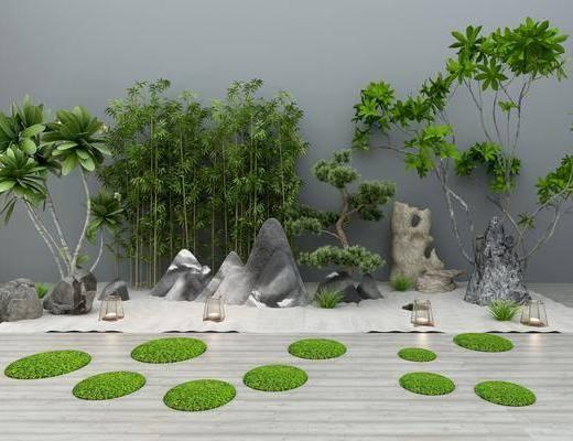 假山竹子, 石头地灯, 植物盆栽, 草地绿植, 摆件组合, 树木, 新中式
