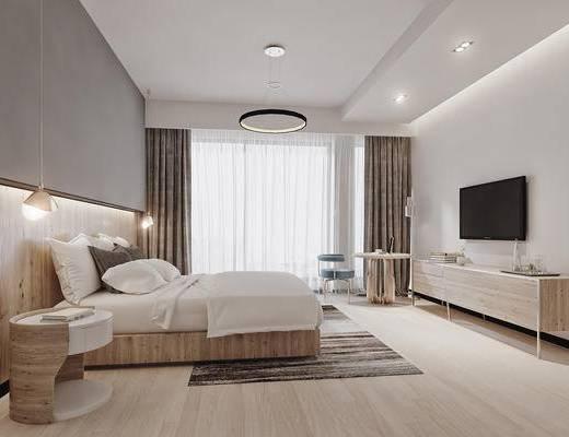 现代, 禅意, 新中式, 卧室, 床, 电视柜, 椅子, 边几, 床头柜, 吊灯, 地毯
