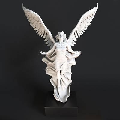 人物, 雕塑, 欧式, 欧式雕塑, 人像, 天使, 翅膀