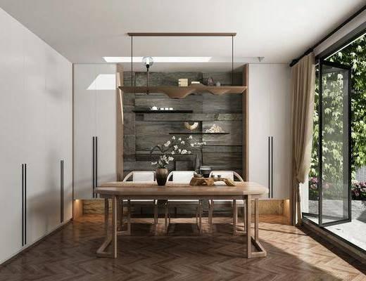 茶室, 桌子, 單椅, 擺件, 吊燈, 新中式