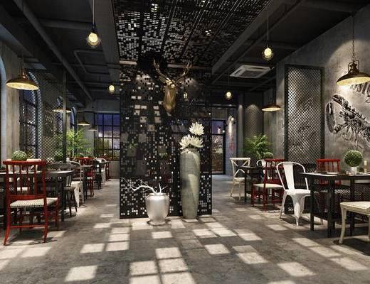 餐厅, 餐桌椅, 桌椅组合, 餐具, 现代餐厅, 餐饮
