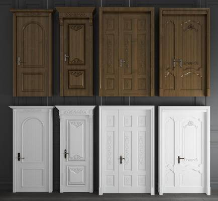 实木雕花, 平开门, 门组合, 子母门, 双开门, 欧式