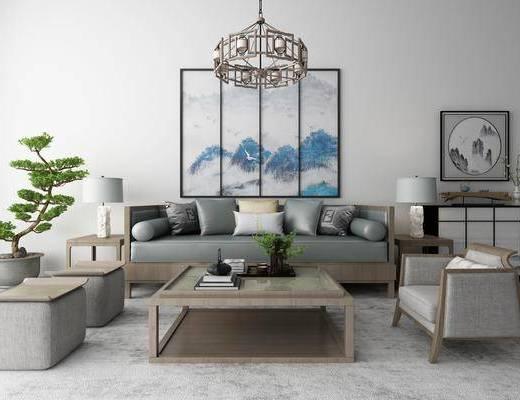 新中式沙发茶几装饰画吊灯地毯组合, 中式沙发, 茶几, 中式嗲东鞥, 装饰挂画, 植物