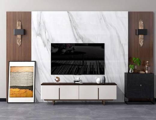 现代电视背景墙, 北欧电视背景墙, 中式电视背景墙, 现代电视柜, 北欧电视柜, 中式矮柜, 现代矮柜, 北欧矮柜, 中式壁灯, 金属壁灯, 现代, 中式, 电视柜, 电视墙