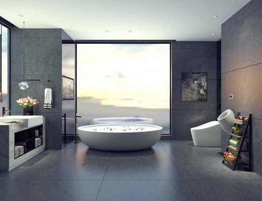 卫生间, 浴缸, 洗手台
