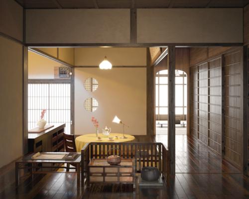 室内, 桌子, 单人椅, 吊灯, 台灯, 日式