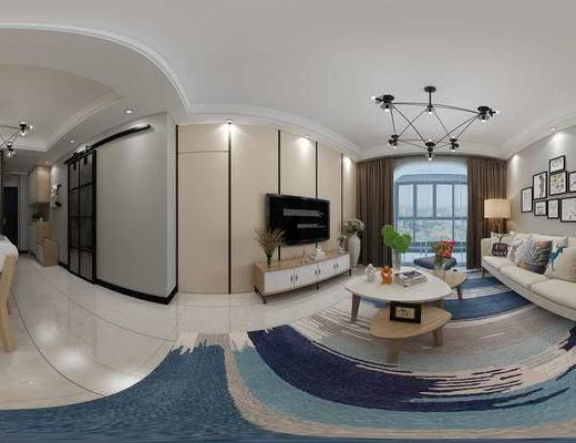 北欧客厅, 北欧沙发, 现代客厅, 沙发组合, 沙发茶几组合