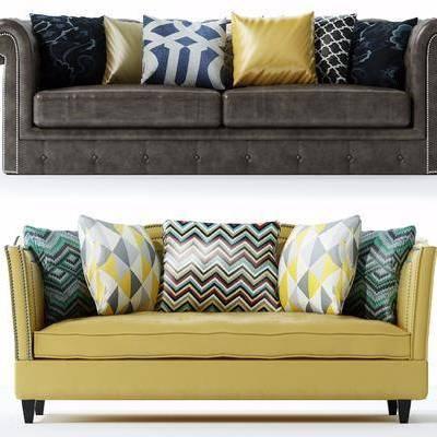 美式沙发组合, 美式, 沙发, 布艺沙发, 抱枕