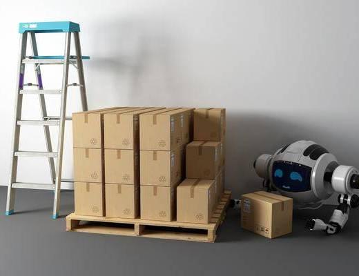 人字梯, 包装箱, 机器人