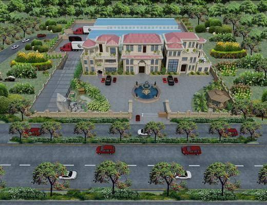 别墅, 户外建筑, 鸟撖图, 欧式别墅, 植物, 马路, 树木, 汽车, 欧式