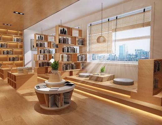 图书馆, 日式图书馆, 书柜, 置物柜, 书籍, 书本, 桌椅组合, 圆桌, 单椅, 椅子, 吊灯, 植物, 盆栽, 榻榻米