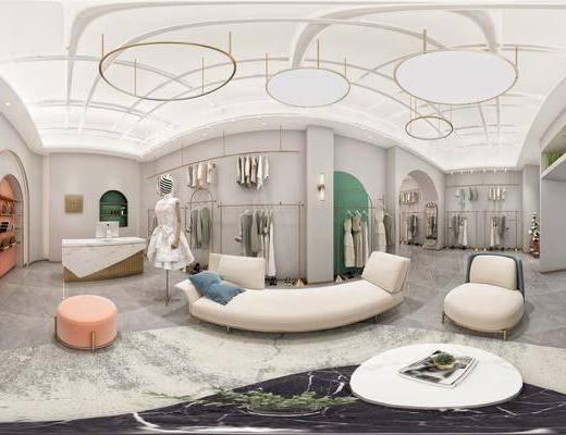 沙发组合, 吊灯, 服饰, 模特, 衣架
