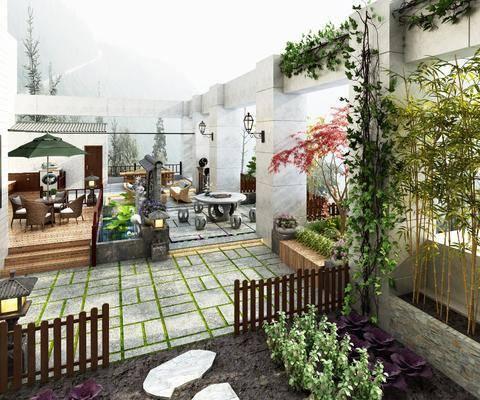 花园庭院, 景观园林, 桌椅组合, 竹子, 绿植植物, 现代