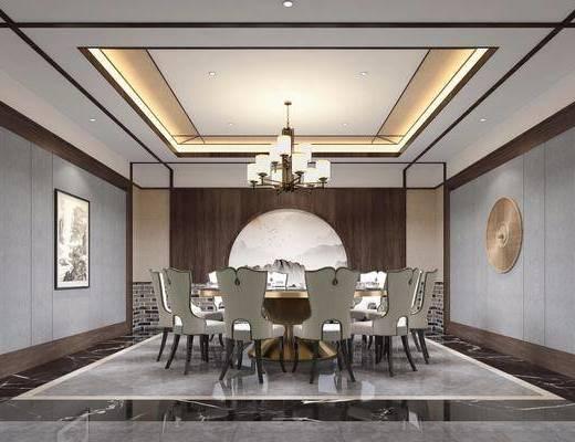 包厢, 圆桌, 餐桌, 单人椅, 餐椅, 餐具, 墙饰, 吊灯, 风景画, 中式