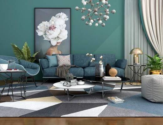 沙发组合, 多人沙发, 单人椅, 脚踏沙发, 茶几, 边几, 台灯, 吊灯, 人物画, 装饰画, 挂画, 盆栽, 绿植植物, 摆件, 装饰品, 陈设品, 北欧