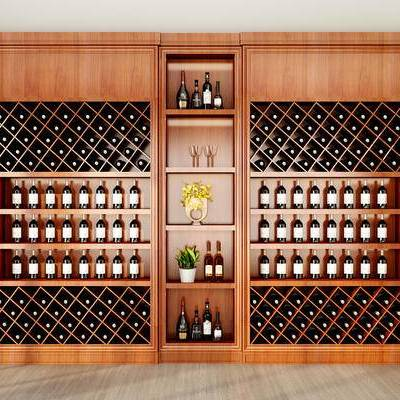 现代, 实木, 酒柜, 酒瓶, 摆件, 装饰品