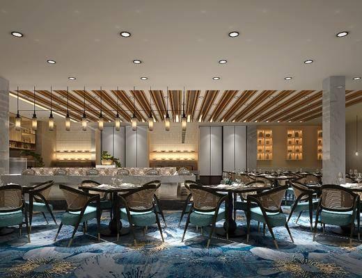 酒店餐厅, 宴会厅, 餐桌, 餐椅, 单人椅, 圆桌, 吊灯, 餐具, 盆栽, 绿植植物, 现代