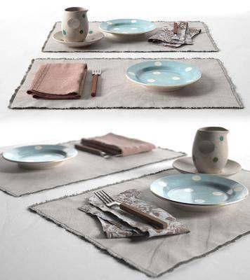 陶瓷盤子, 餐具, 餐巾布, 現代