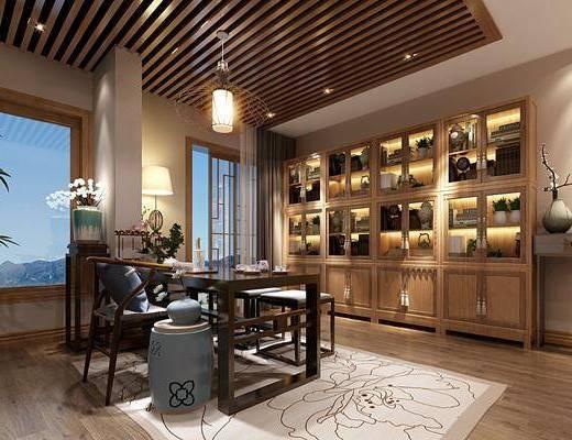 新中式茶室, 茶桌, 桌椅组合, 装饰柜, 置物柜
